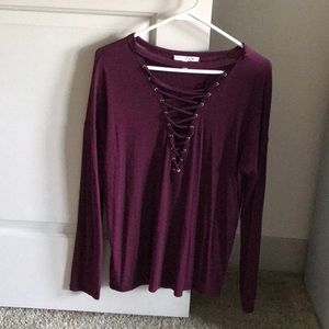 Express Lace Up Long Sleeve Top